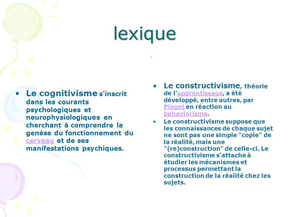 lexique . Le constructivisme, théorie de l'apprentissage, a été développé, entre autres, par Piaget en réaction au behaviorisme.