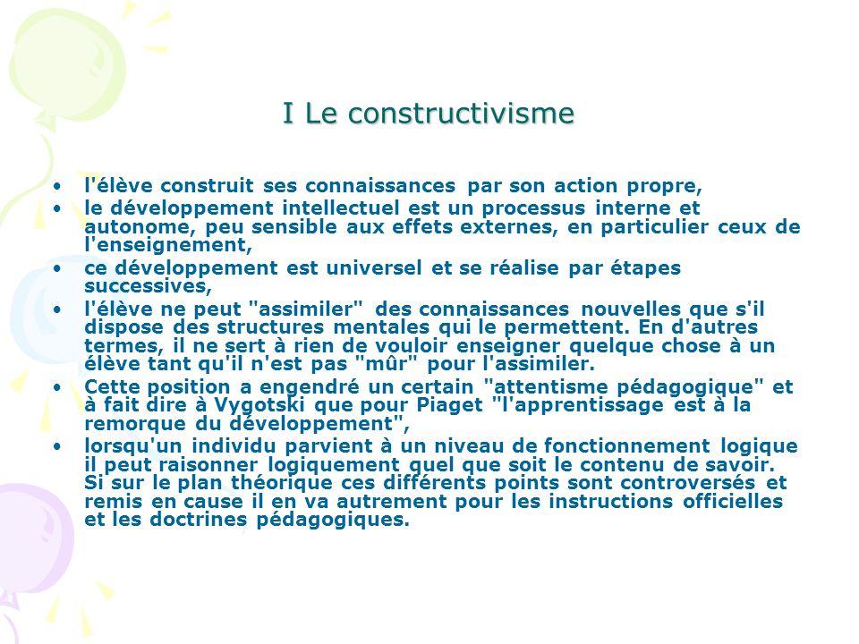 I Le constructivisme l élève construit ses connaissances par son action propre,
