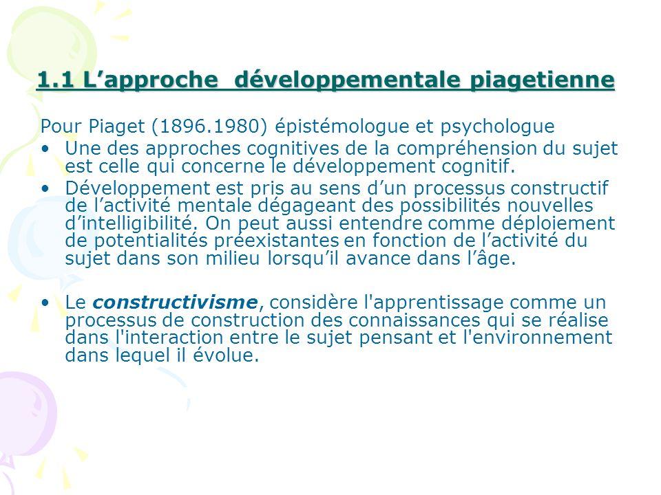 1.1 L'approche développementale piagetienne
