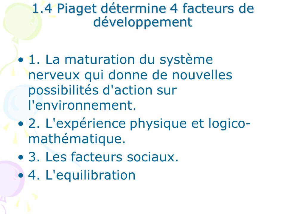 1.4 Piaget détermine 4 facteurs de développement