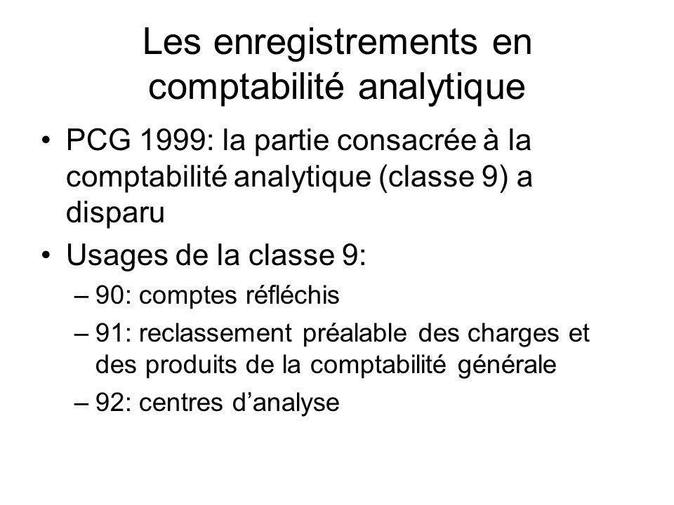 Les enregistrements en comptabilité analytique