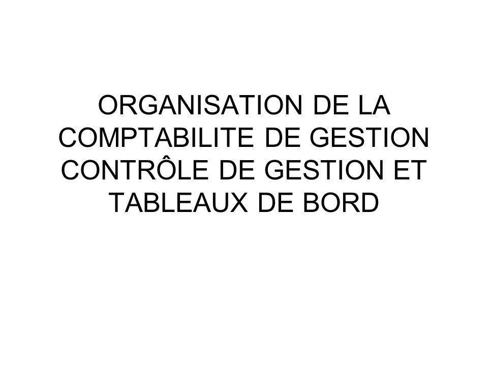 ORGANISATION DE LA COMPTABILITE DE GESTION CONTRÔLE DE GESTION ET TABLEAUX DE BORD