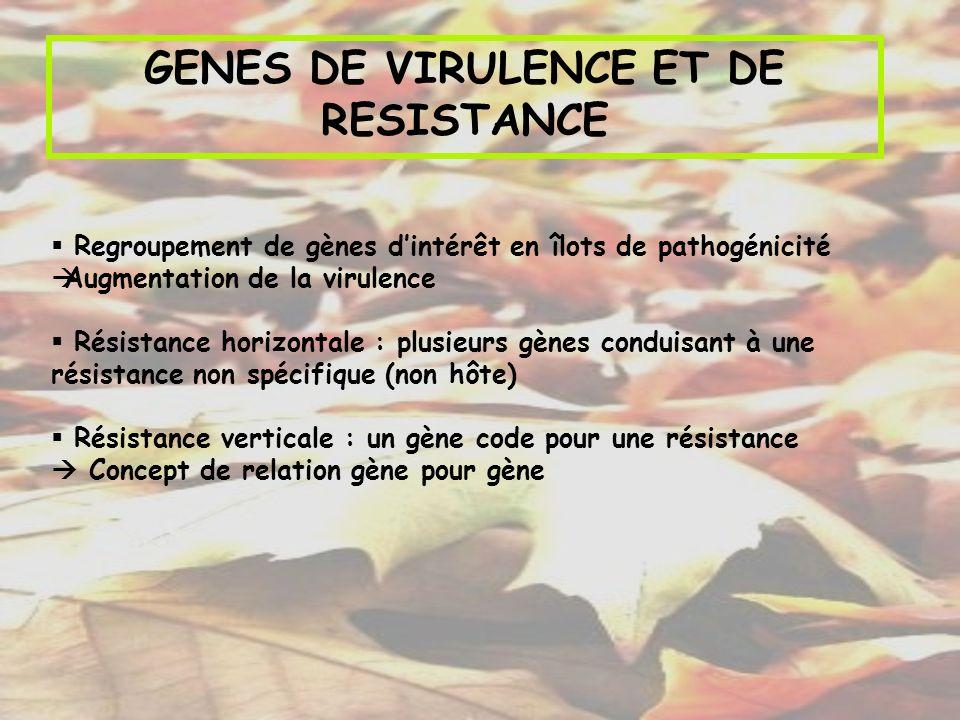 GENES DE VIRULENCE ET DE RESISTANCE