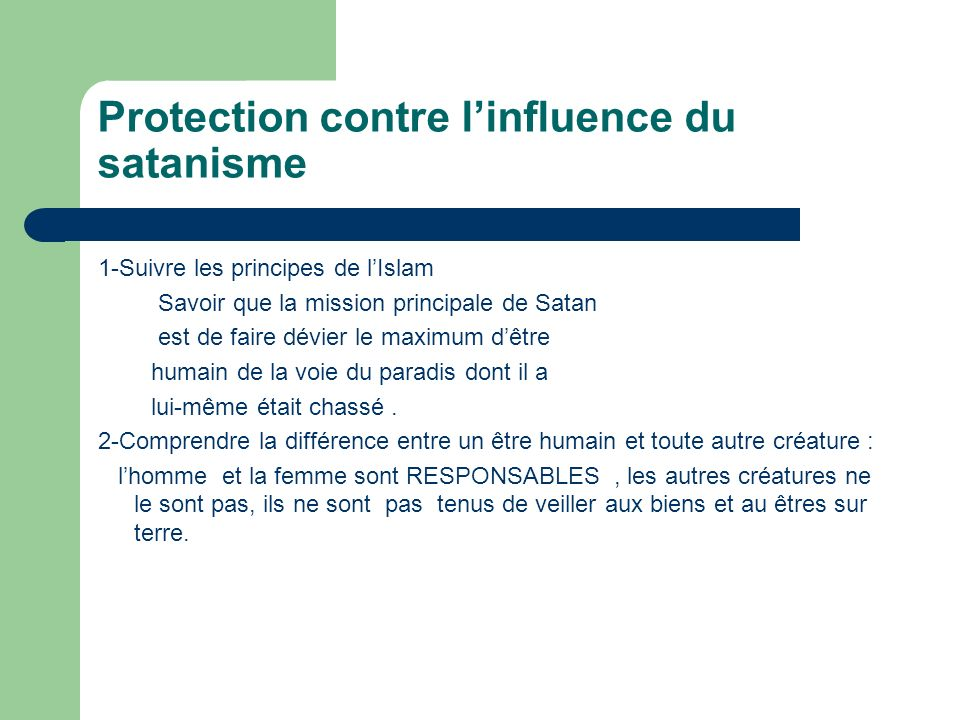 Protection contre l'influence du satanisme