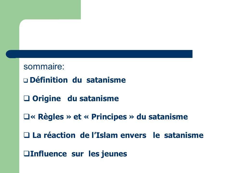 sommaire: Origine du satanisme