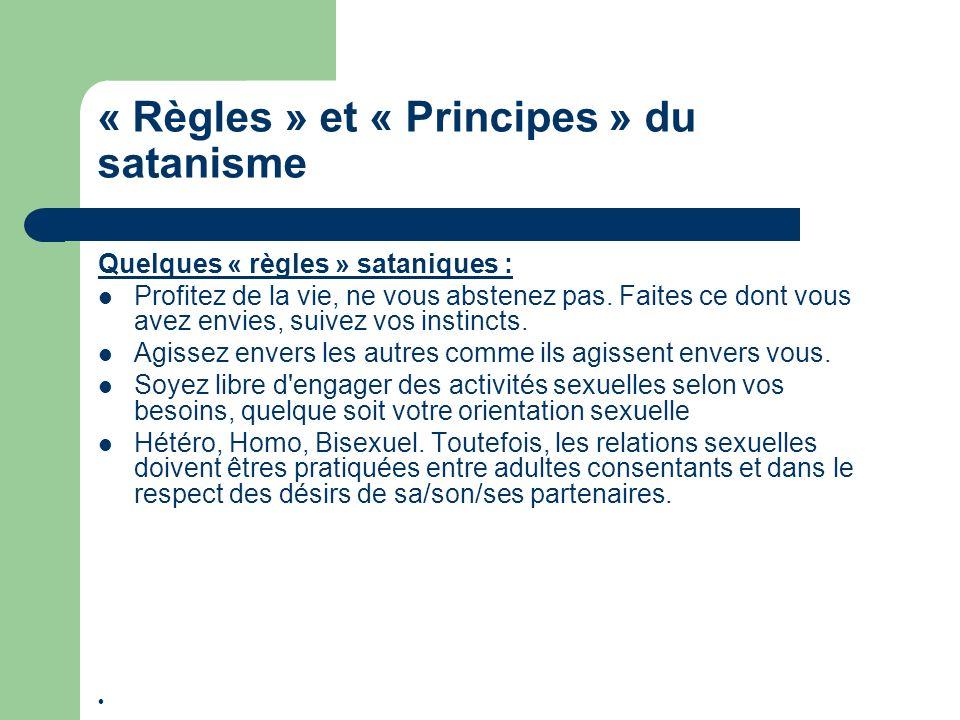 « Règles » et « Principes » du satanisme