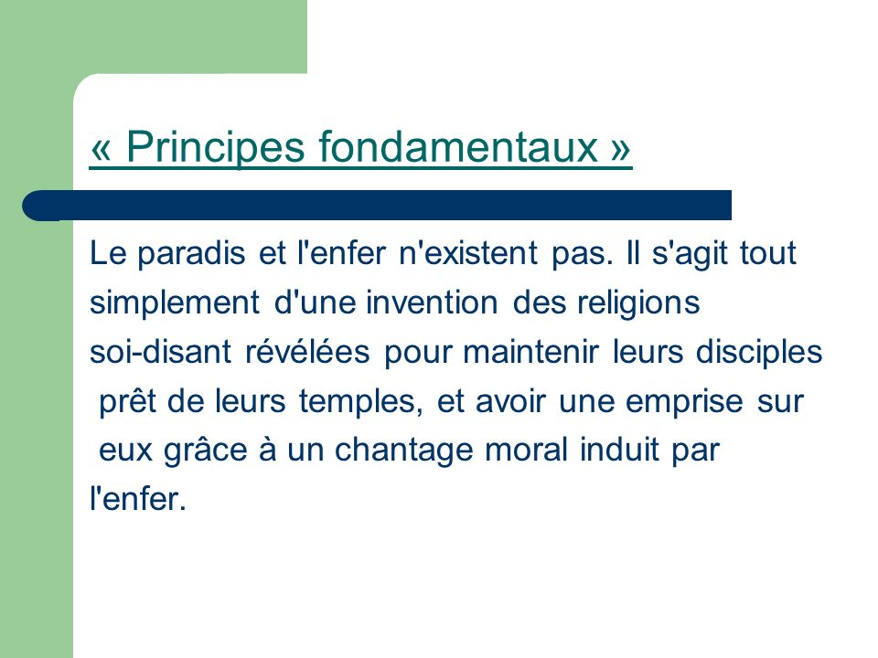 « Principes fondamentaux »