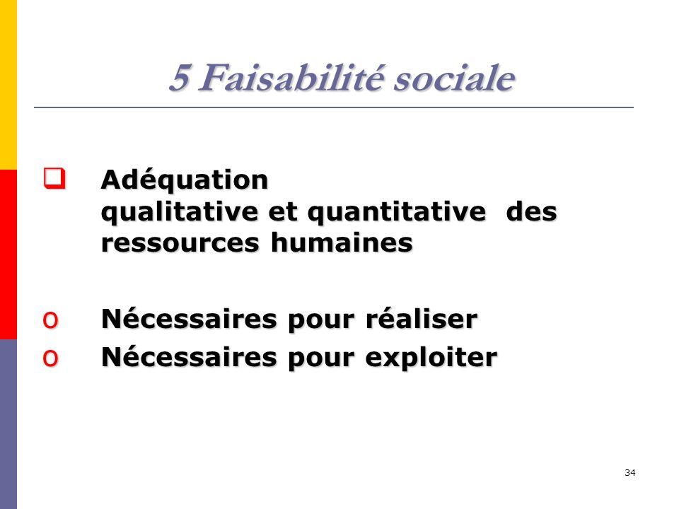 5 Faisabilité sociale Adéquation qualitative et quantitative des ressources humaines.