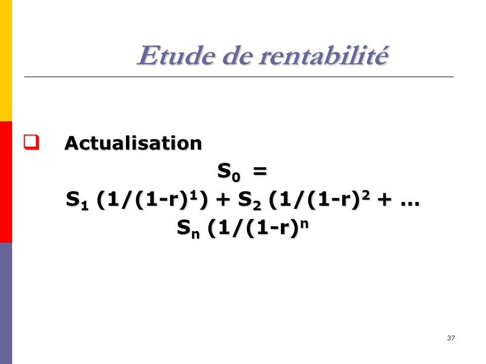 Etude de rentabilité S0 = S1 (1/(1-r)1) + S2 (1/(1-r)2 + …