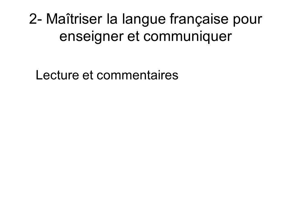 2- Maîtriser la langue française pour enseigner et communiquer