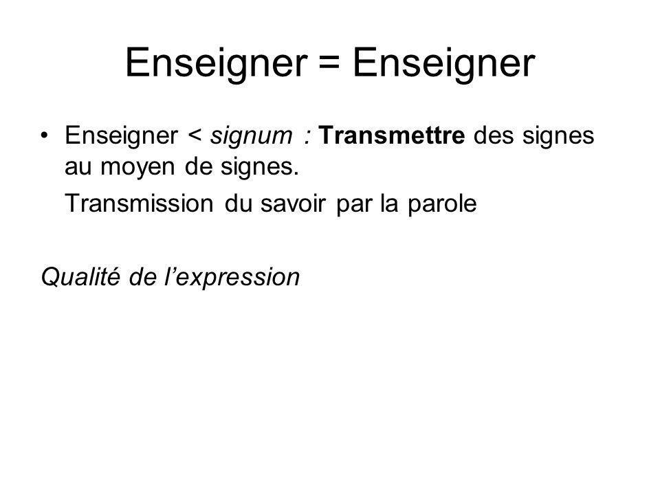Enseigner = EnseignerEnseigner < signum : Transmettre des signes au moyen de signes. Transmission du savoir par la parole.