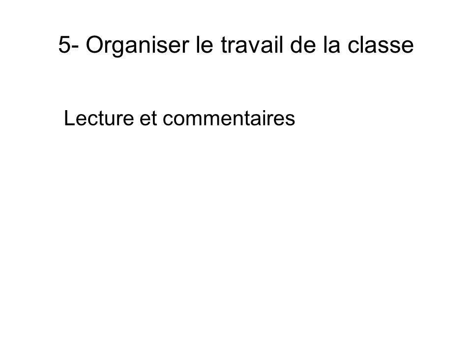 5- Organiser le travail de la classe