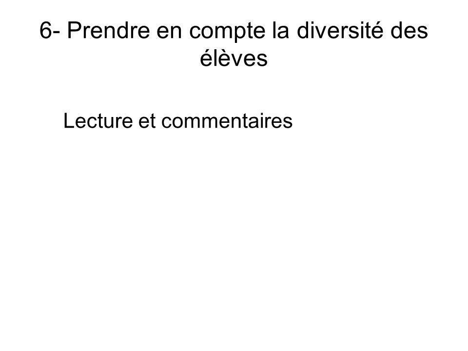 6- Prendre en compte la diversité des élèves