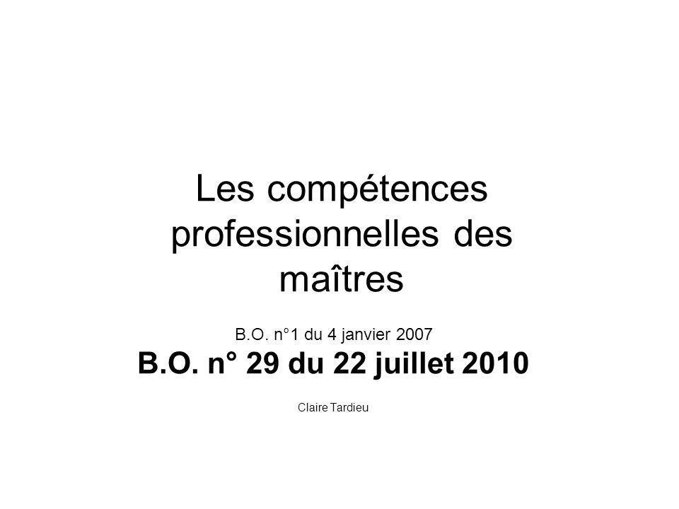 Les compétences professionnelles des maîtres