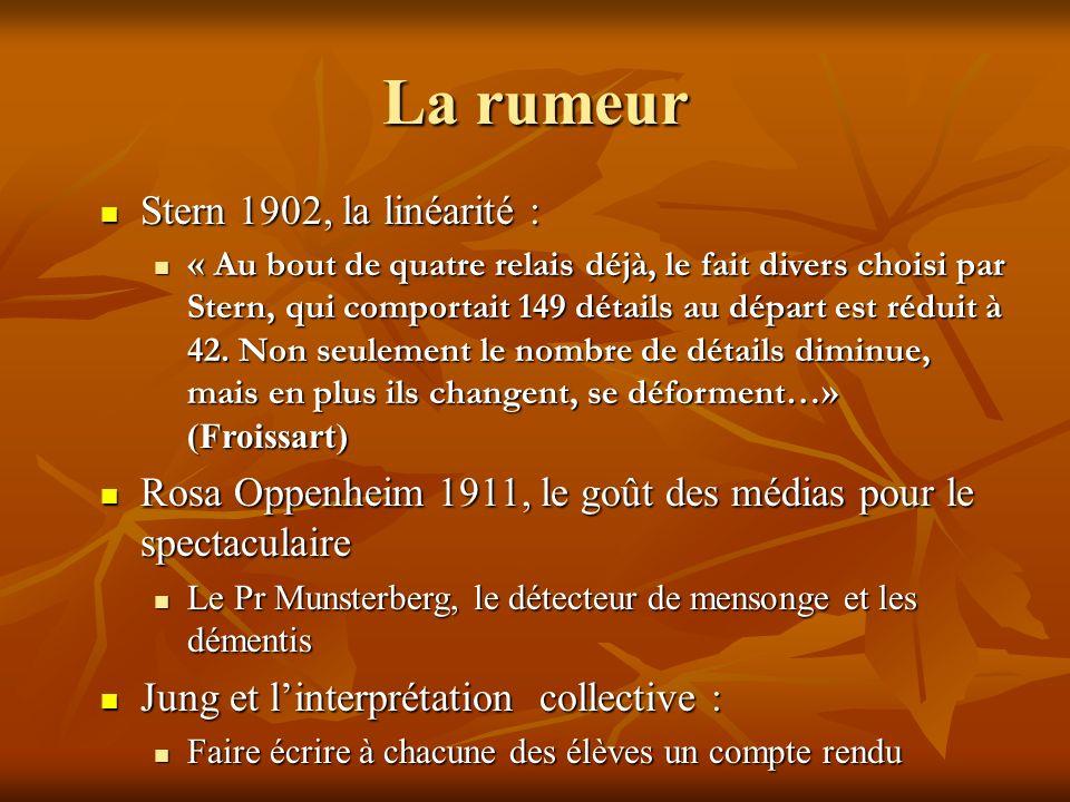 La rumeur Stern 1902, la linéarité :