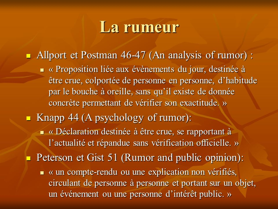 La rumeur Allport et Postman 46-47 (An analysis of rumor) :