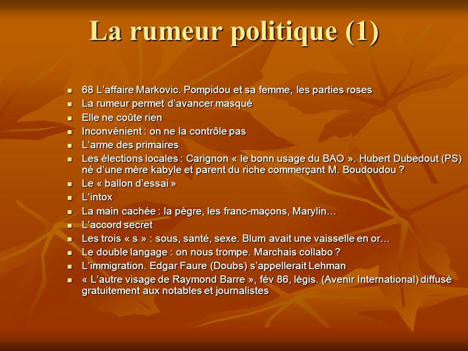 La rumeur politique (1) 68 L'affaire Markovic. Pompidou et sa femme, les parties roses. La rumeur permet d'avancer masqué.