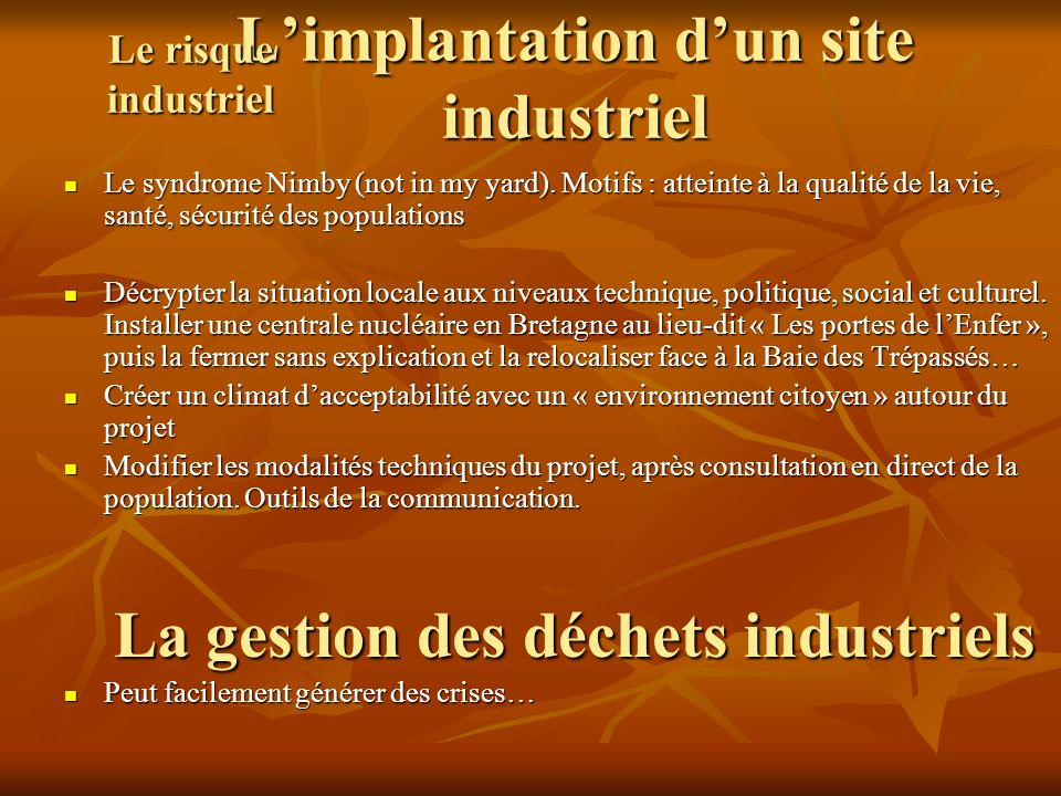 L'implantation d'un site industriel