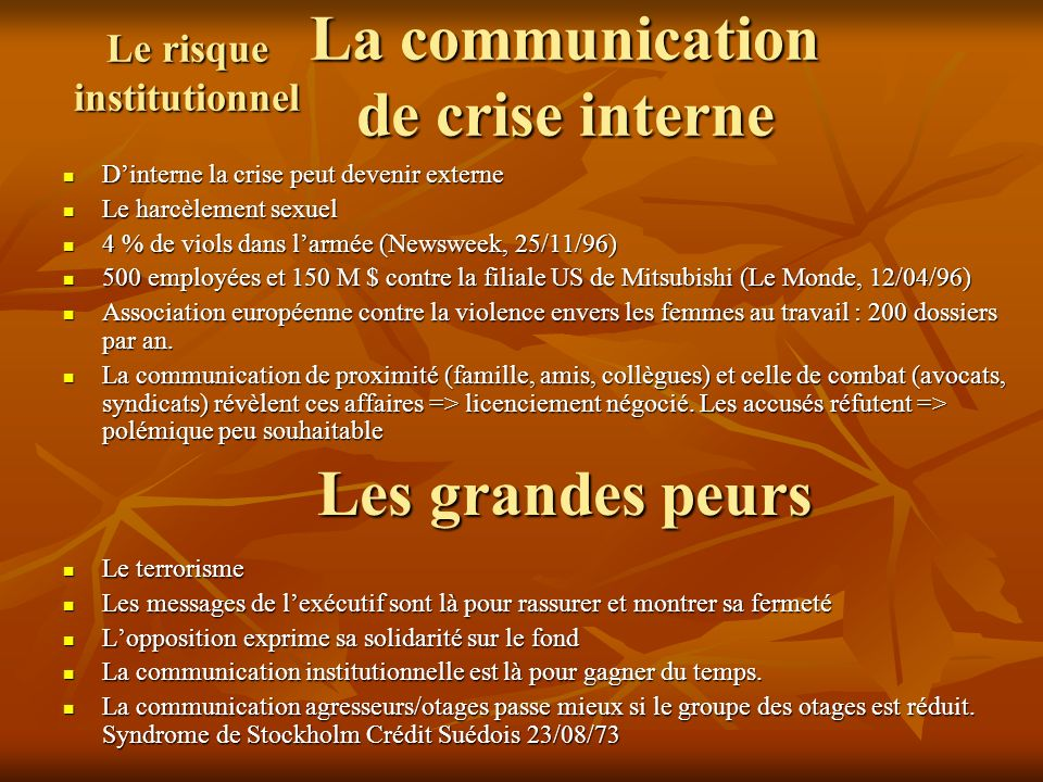 La communication de crise interne