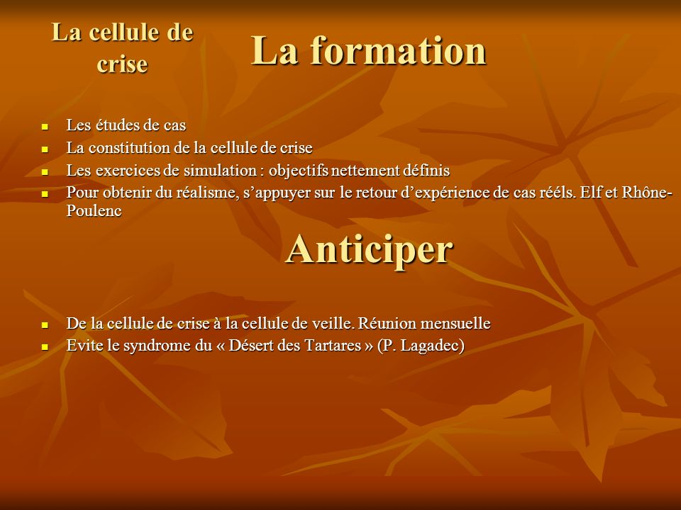La formation Anticiper