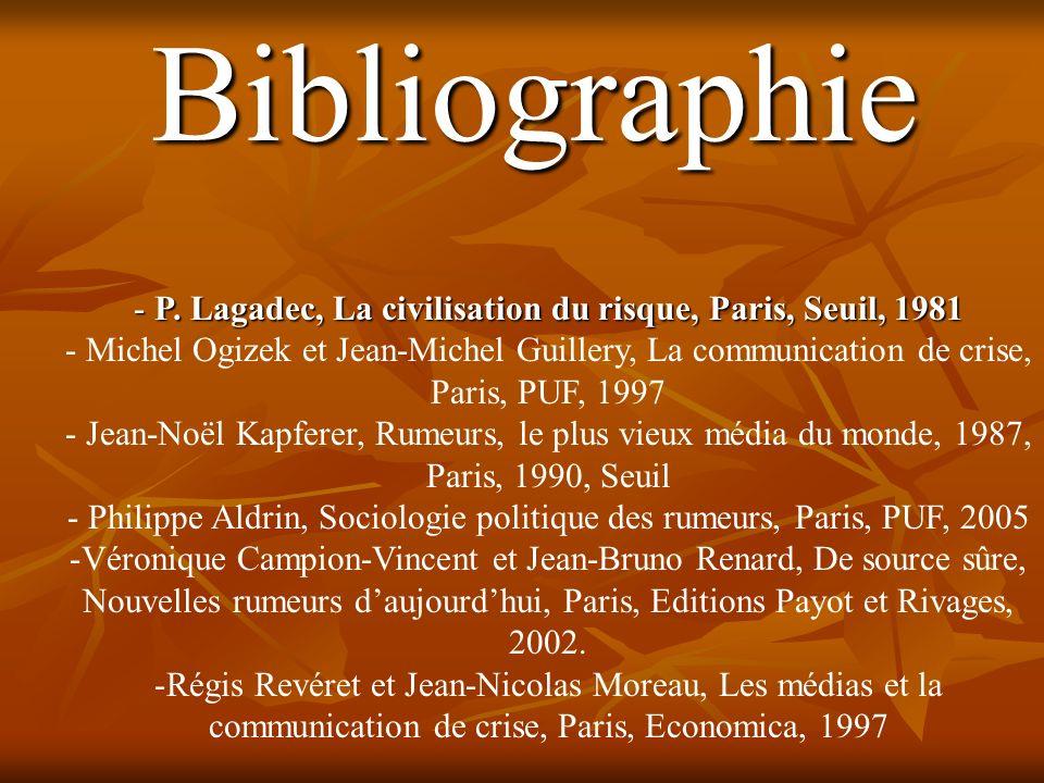 P. Lagadec, La civilisation du risque, Paris, Seuil, 1981