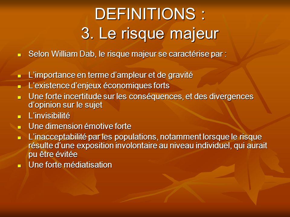 DEFINITIONS : 3. Le risque majeur