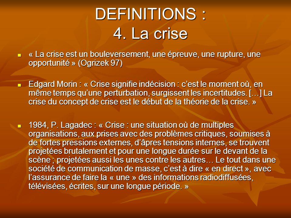 DEFINITIONS : 4. La crise « La crise est un bouleversement, une épreuve, une rupture, une opportunité » (Ogrizek 97)