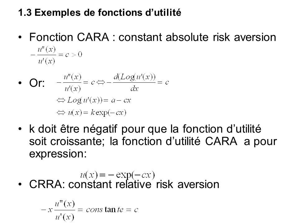 1.3 Exemples de fonctions d'utilité