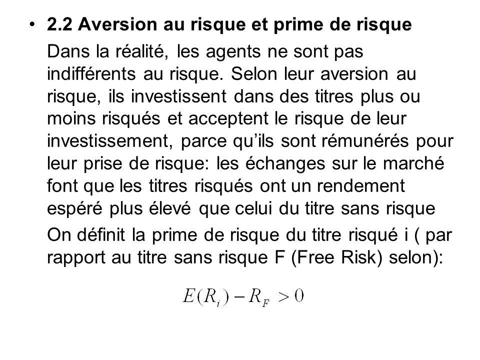 2.2 Aversion au risque et prime de risque