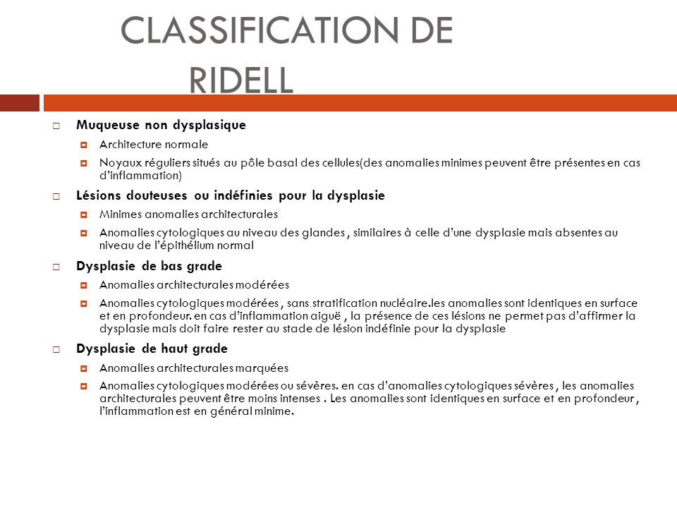 CLASSIFICATION DE RIDELL