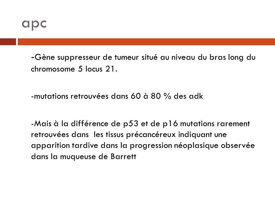 apc -Gène suppresseur de tumeur situé au niveau du bras long du chromosome 5 locus 21. -mutations retrouvées dans 60 à 80 % des adk.
