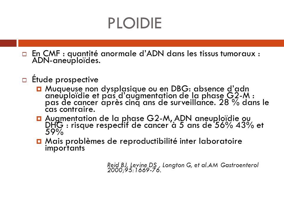 PLOIDIE En CMF : quantité anormale d'ADN dans les tissus tumoraux : ADN-aneuploïdes. Étude prospective.