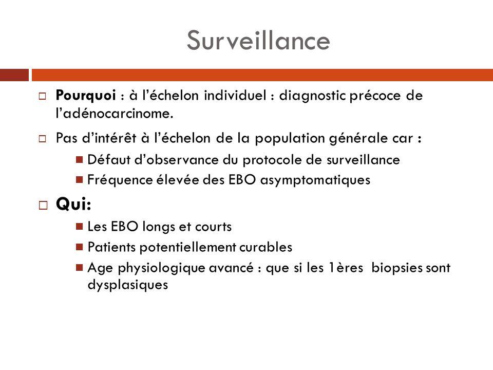 Surveillance Pourquoi : à l'échelon individuel : diagnostic précoce de l'adénocarcinome. Pas d'intérêt à l'échelon de la population générale car :