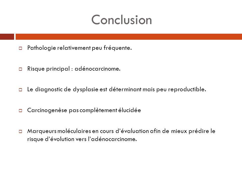 Conclusion Pathologie relativement peu fréquente.