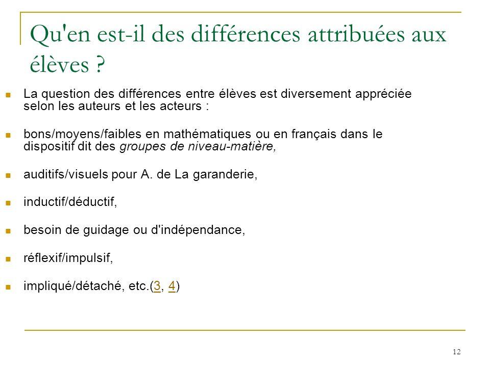 Qu en est-il des différences attribuées aux élèves