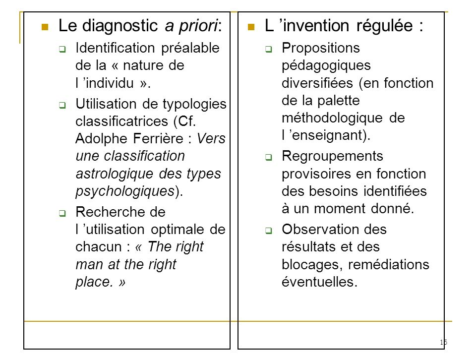 Le diagnostic a priori: L 'invention régulée :