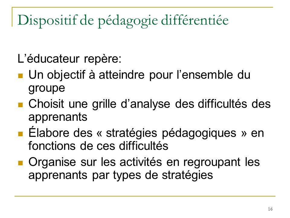 Dispositif de pédagogie différentiée