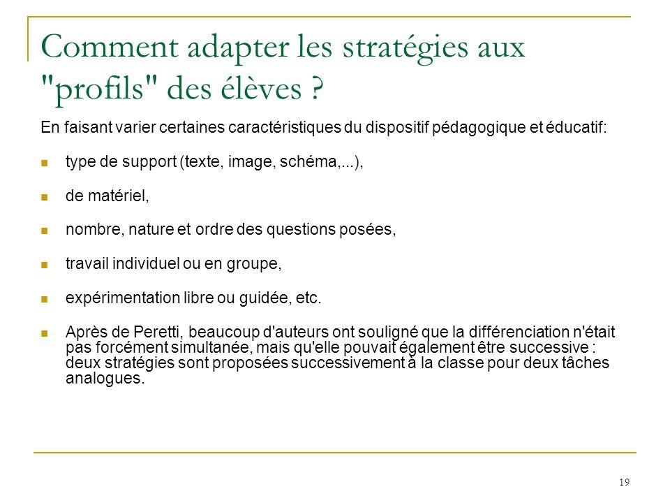 Comment adapter les stratégies aux profils des élèves