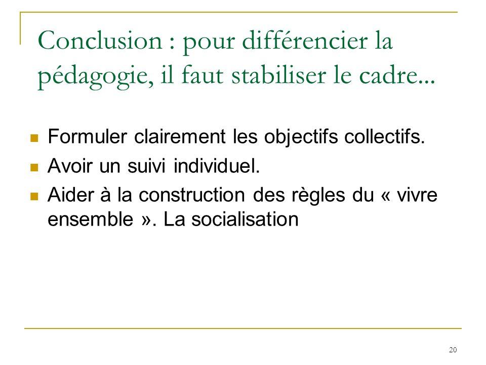 Conclusion : pour différencier la pédagogie, il faut stabiliser le cadre...