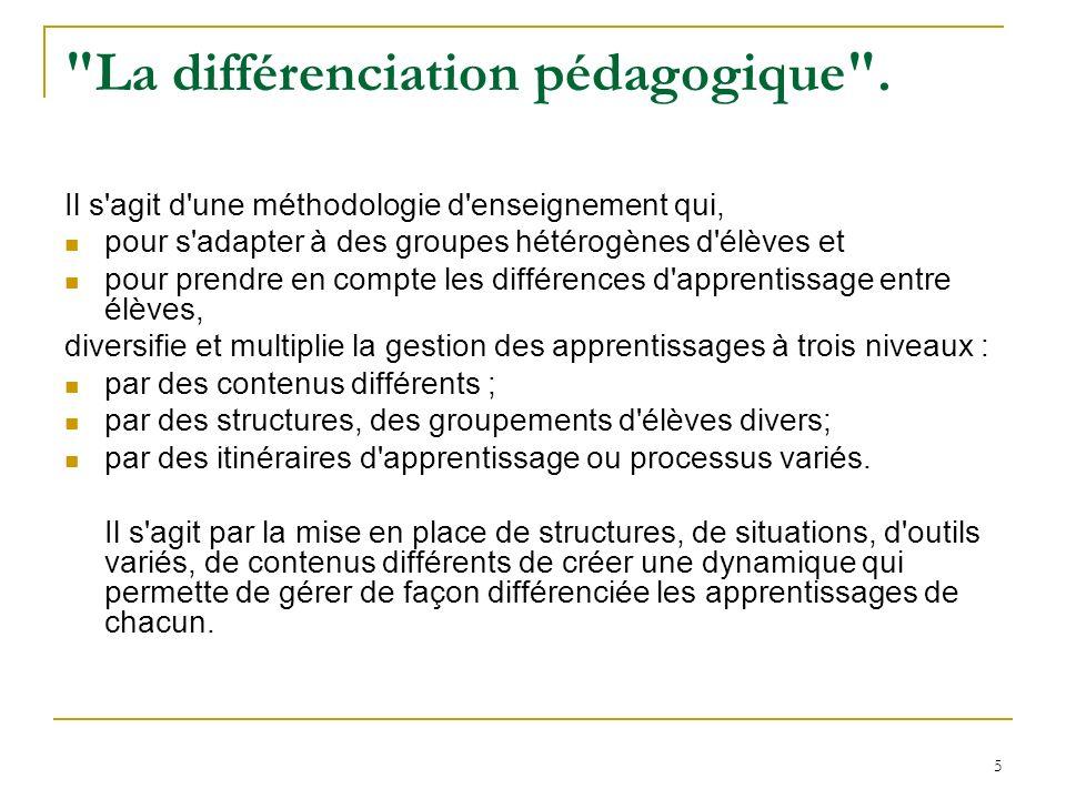 La différenciation pédagogique .