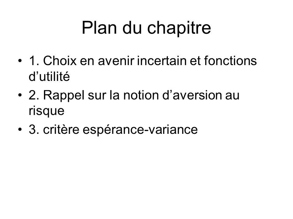 Plan du chapitre 1. Choix en avenir incertain et fonctions d'utilité
