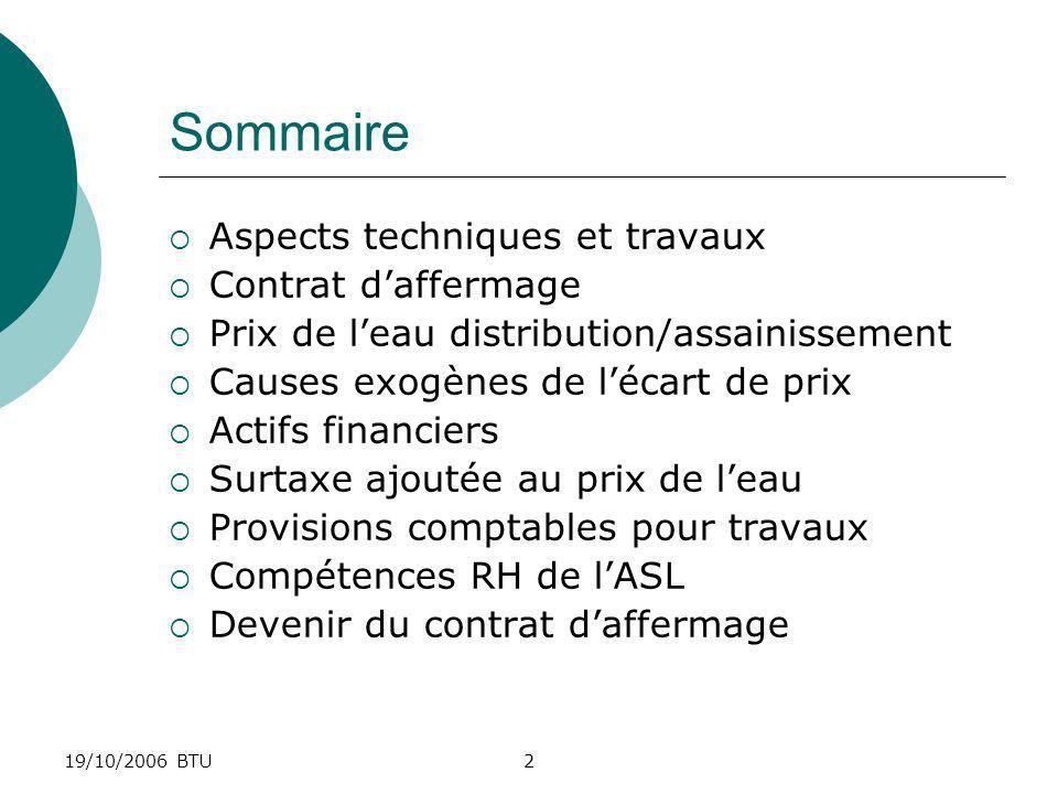 Sommaire Aspects techniques et travaux Contrat d'affermage