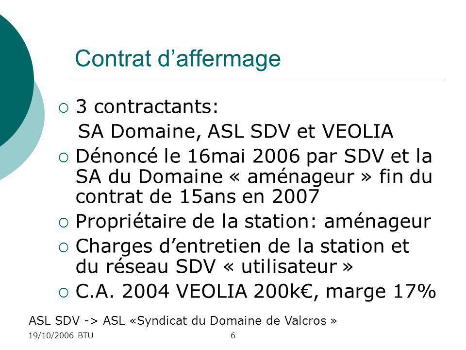 Contrat d'affermage 3 contractants: SA Domaine, ASL SDV et VEOLIA