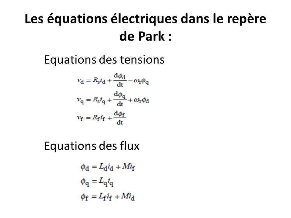 Les équations électriques dans le repère de Park :