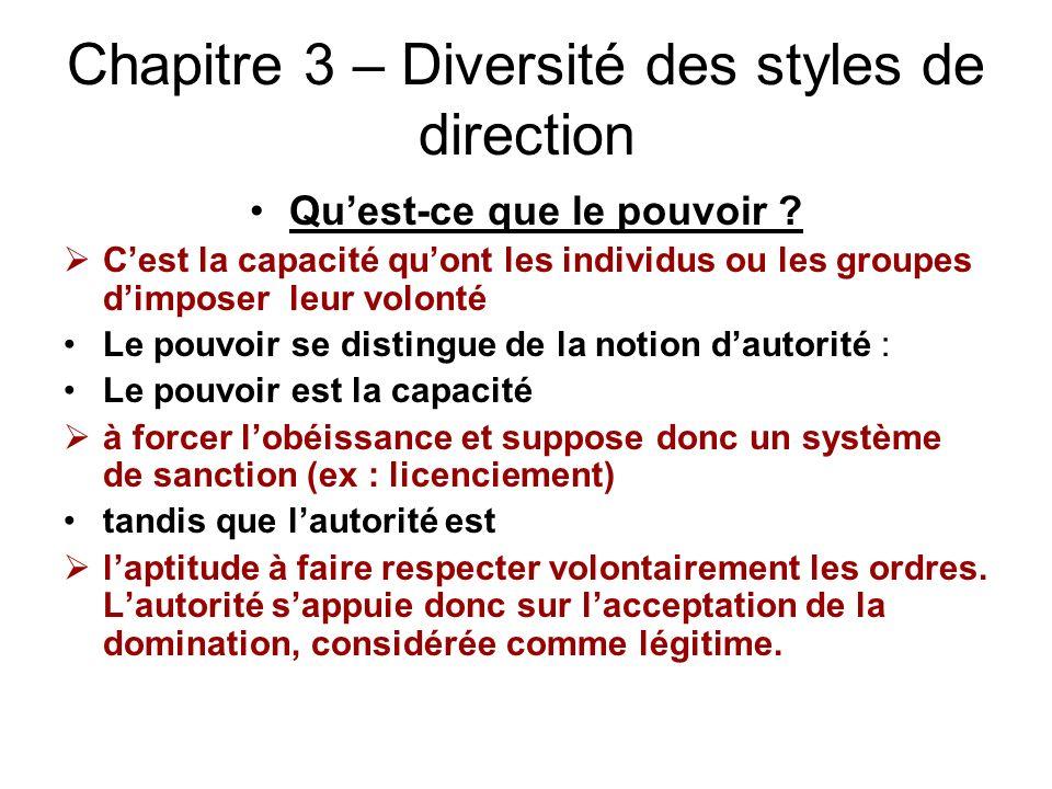 Chapitre 3 – Diversité des styles de direction