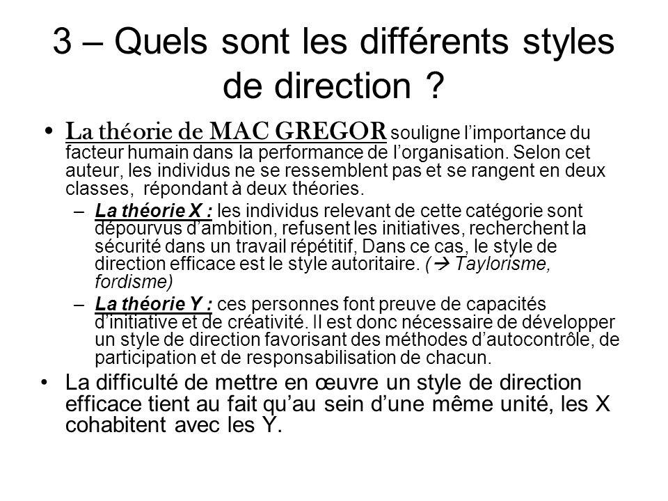 3 – Quels sont les différents styles de direction