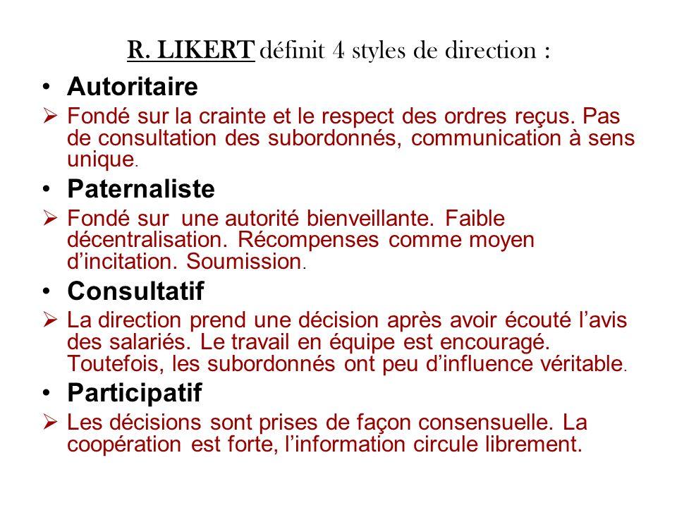 R. LIKERT définit 4 styles de direction :