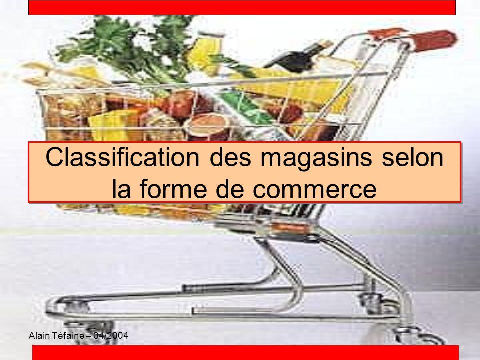 Classification des magasins selon la forme de commerce