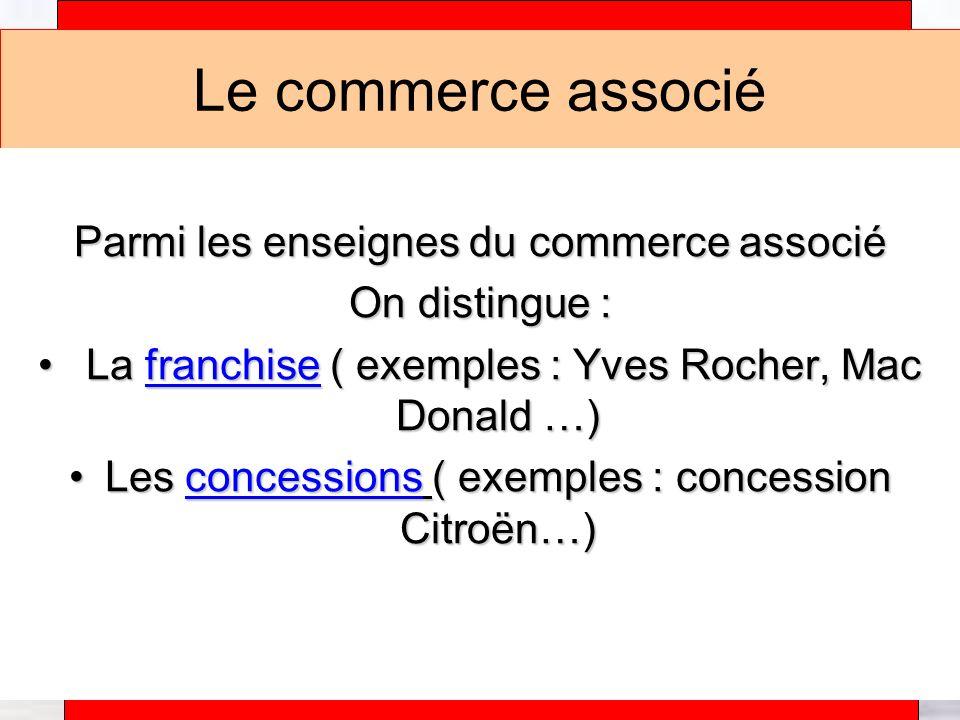 Le commerce associé Parmi les enseignes du commerce associé