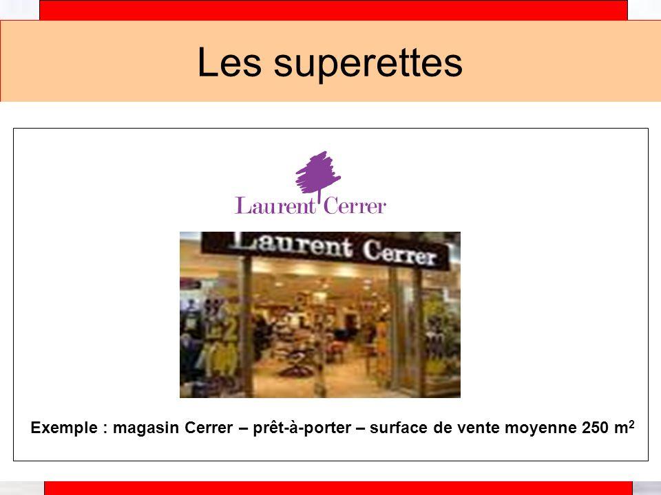 Les superettes Exemple : magasin Cerrer – prêt-à-porter – surface de vente moyenne 250 m2.